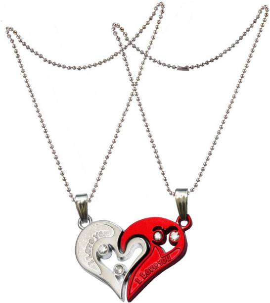 57d68c5b62 Men Style 2pcs His and Hers Heart-shape I Love You Couple Necklace  SPn007033 Zinc