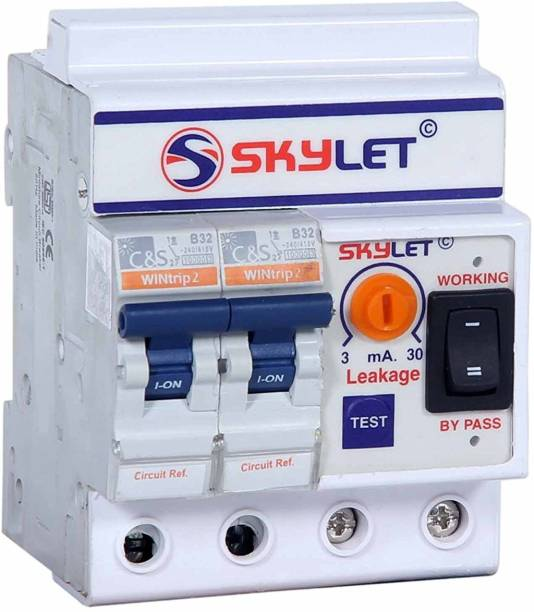SKYLET ELCB+MCB Single Phase 2 pole ELCB + RCCB + ISI Marked MCB 32 A with high voltage protection, Overload Protection, Adjustable Leakage current 3 to 30 mA (Shock Guard) Modular MCB