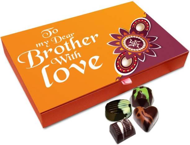 Chocholik Rakhi Gift Box - Best Rakhi Wishes Chocolate Box For Brother / Sister - 12pc Truffles
