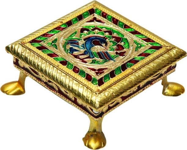 SV Traders Meenakari 4 Inc Pooja Wood, Brass All Purpose Chowki