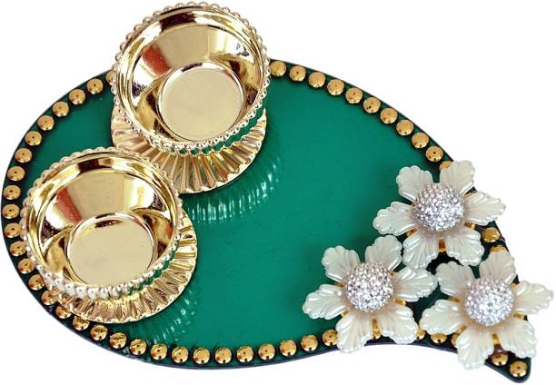 Pingaksh Crafty Collection Handmade Tilak Chopra In Leaf Shape Decorative Showpiece 2 5 Cm
