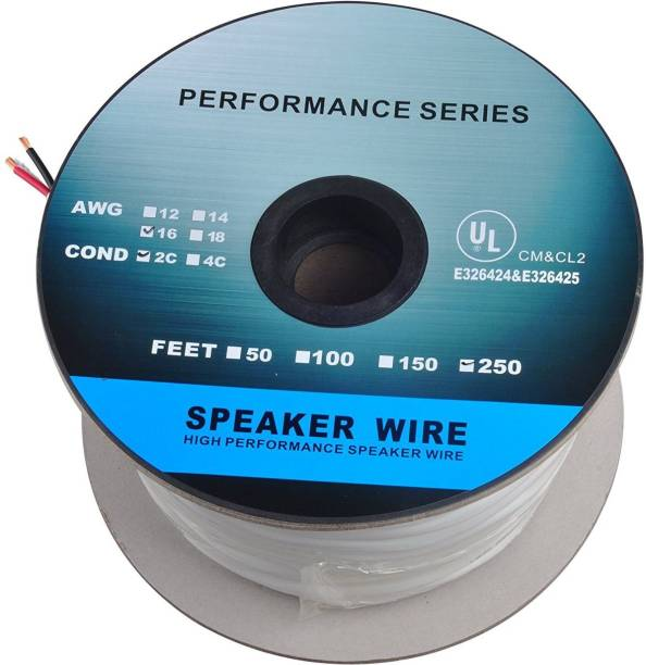 C&E  TV-out Cable 250 Feet 16AWG CL2 Rated 2-Conductor Loud Speaker Cable (For In-Wall Installation)