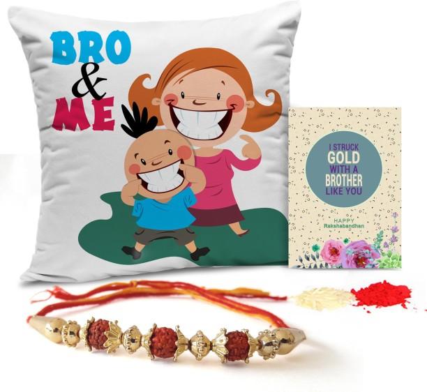 Designer Lumba Rakhi Set, Printed Cushion with Fillers, Rakshabandhan Special Card TIED RIBBONS Rakhi Pair for Brother and Bhabhi with Gift Pack