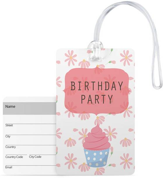 100yellow Luggage Tags Birthday Party Print Premium Gloss Finish Pvc With Silicon Strap Bag Tag