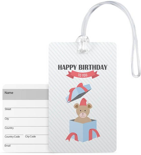 100yellow Luggage Tags Happy Birthday To You Printed Pvc Travel Bag Tag With Silicon Strap
