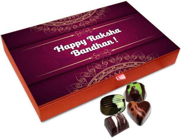 Chocholik Rakhi Gift - Happy Raksha Bandhan My Beloved Brother Chocolate Box For Brother / Sister - 12pc Truffles