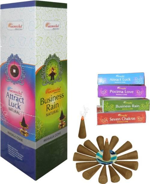 AROMATIKA Aromatika cone 4 in 1 Business Rain, Attract luck, Seven Chakra, Pocima Love