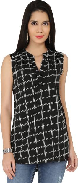 00422b61f03ce The Beach Company Casual Sleeveless Checkered Women s Black Top