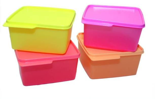 Tupperware KEEP TAB SET OF FOUR PCS WITH BEAUTIFUL FOUR COLORS 4 Containers Lunch Box