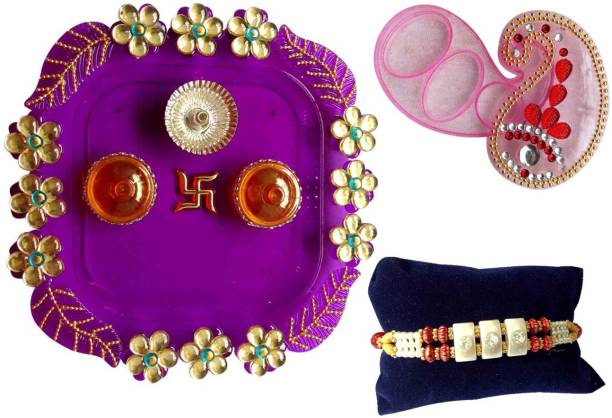 Unique Arts Designer Thali, Rakhi  Set