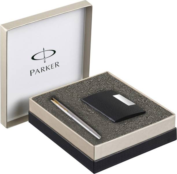 PARKER Frontier Stainless Steel GT Roller Ball Pen + Card Holder Pen Gift Set