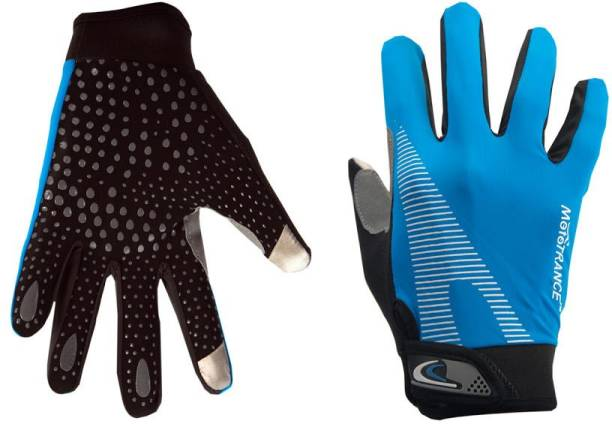 Mototrance Touch Recognition Full Finger All Season Outdoor Gloves - Large Size (Blue) Riding Gloves