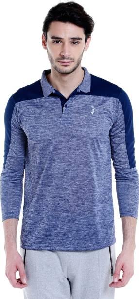 8f27f994173 Campus Sutra Self Design Men Polo Neck Blue T-Shirt