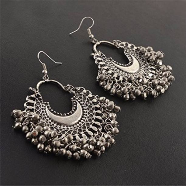bc7146f0f Multiline Company Multiline Company Fashion Oxidized Silver Afghani Tribal  Dangler Hook Chandbali Earrings for Girls and