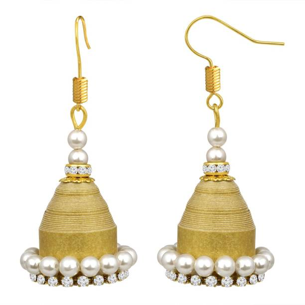 d13b4a05f Spargz Spargz Indian Traditional Wedding Gold Plated AD Stone Lightweight  Handmade Quilling Paper Jhumki Earrings For
