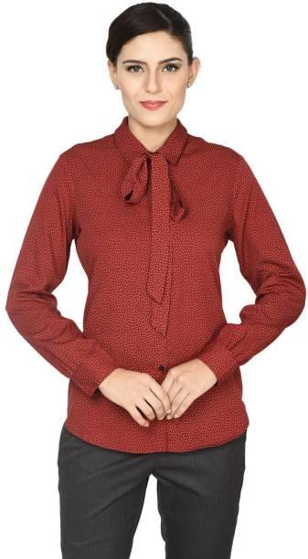 464693bf061ef2 Annabelle by Pantaloons Women's Polka Print Casual Maroon Shirt