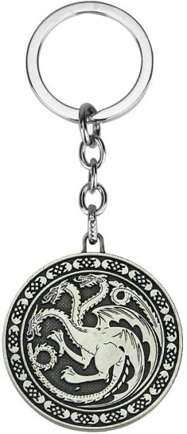 Optimus traders HBO Game of Thrones Fire and blood Targaryen Dynasty Badge flat 3D metal Key Chain