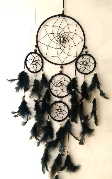Varanasi Enterprises Dream Catcher Wall Hanging Soft Black Color Dream Catcher for Attractive Dream (6 inch ring) Wool Dream Catcher
