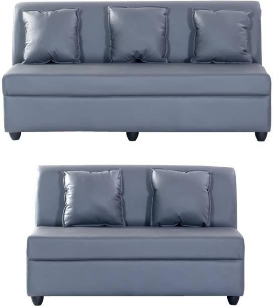 Bharat Lifestyle Delta Leatherette 3 + 2 Grey Sofa Set