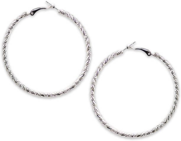 19d286b85 Karatcart Karatcart Silver Elegant Hoop Earrings For Women Zinc Hoop Earring