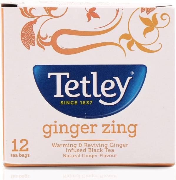 tetley Ginger Zing Black Tea Bags Box