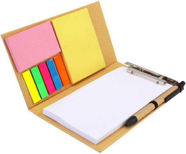 7Trees Sticky Note Cardboard Folio Case with 50 Sheets Clip Writing Pad and Ballpoint Pen, 7 Colors