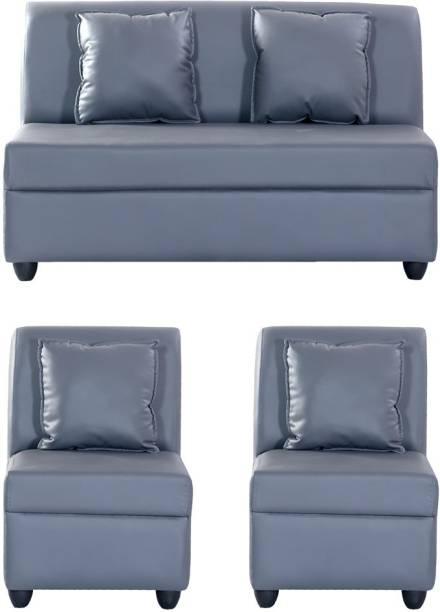 Bharat Lifestyle Leatherette 2 + 1 + 1 Grey Sofa Set