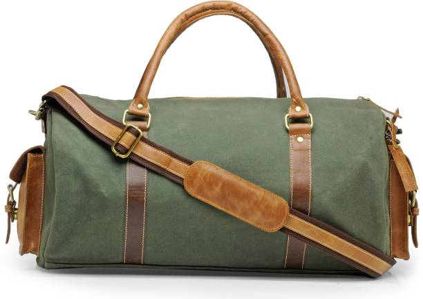 6b5970e72f07 The House of Tara (Expandable) Canvas and Genuine Leather Gym Travel Duffel  Bag