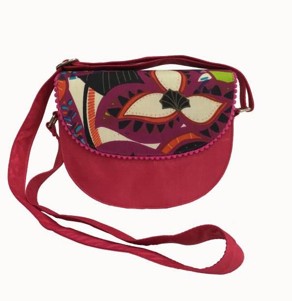 Indian Rain Women Casual Red Silk Cotton Sling Bag