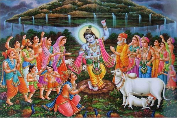 Shri Krishna Lift Govardhan Parvat Poster for Room Paper Print
