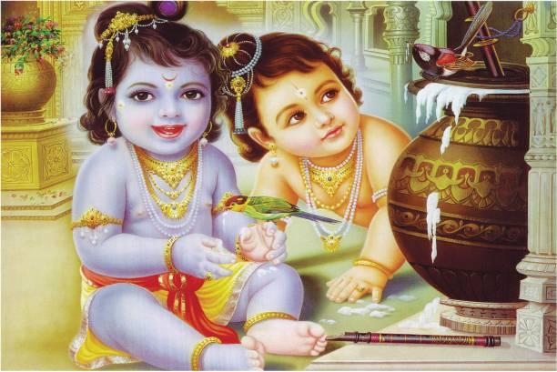 Bal Shri Krishna with Shri Balaram Poster for Room Paper Print