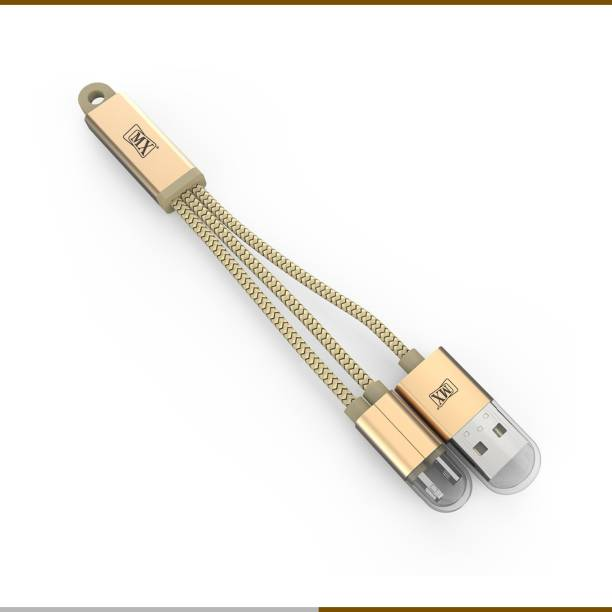 MX 2 in 1 USB 2.0 A Male to Micro USB & Lightning 8pin Charging Sync Data Cables 1 Mtr 0.5 m Lightning Cable