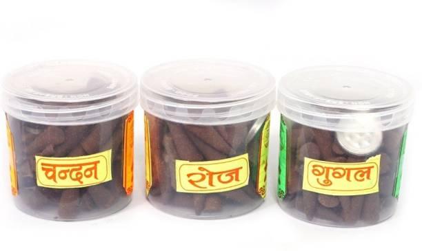 Shri Guru Vandana Shri Guru Vandana Premium Dhoop Cones ( Pack of 3 Boxes) Sandal, Rose, Guggul Dhoop