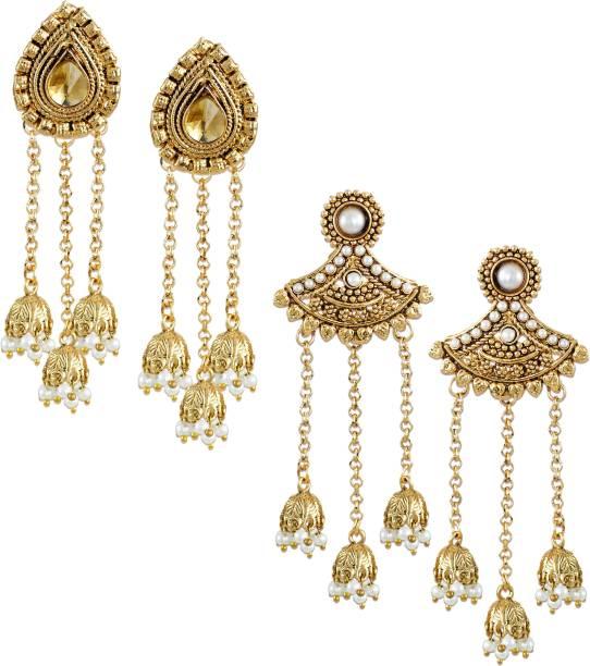 Zaveri Pearls Combo Of 2 Zinc Dangle Earring