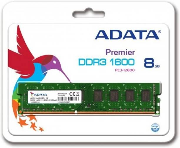 ADATA DDR3L Desktop DDR3 8 GB (Single Channel) PC 8 GB (1*8) 1600 MHz DDR3 Low Voltage (ADDU1600W8G11-R)