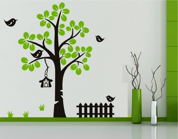e9bde3c4e29 Asmi Collections Large Beautiful Green Tree and Black Birds Cage Sticker