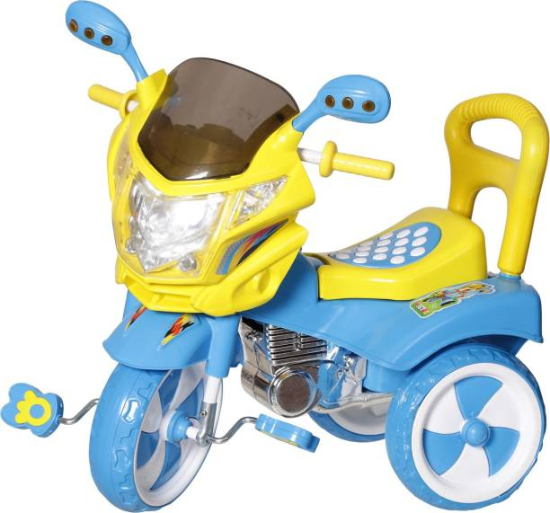 NHR Kids Cycle With Under Seat Storage Space Lights And Music Tricycle Blue