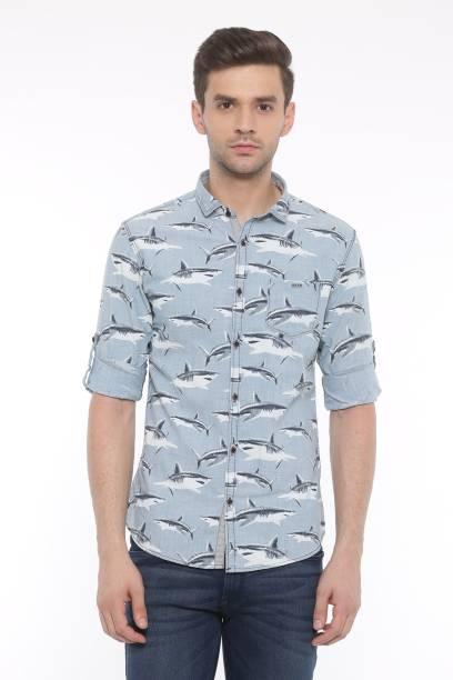 Showoff Men Animal Print Casual Light Blue Shirt