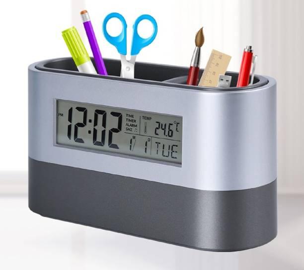 f0d480e44f5 Tuelip Digital Snooze Alarm Clock with Pen Holder Clock