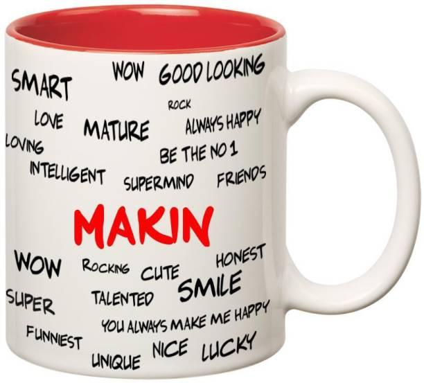 HUPPME Good Personality Makin Inner Red Ceramic Coffee Mug