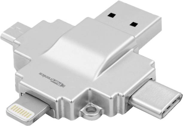 Card readers buy sd memory card reader adapters online at best portronics diski 4 in 1 card reader connect with usb micro usb reheart Images