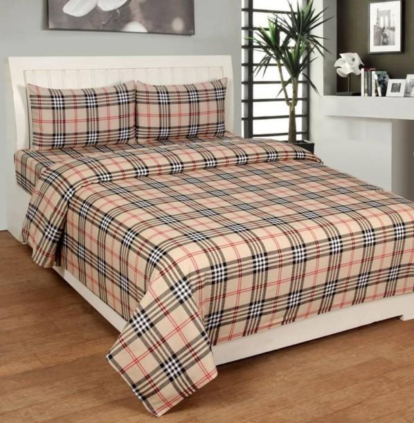 Krishan Kanhaiya Handloom 190 TC Cotton Double King Checkered Bedsheet