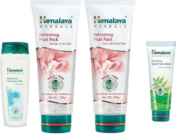 Himalaya Herbals refreshing fruit pack, refreshing cleansing milk, neem face wash