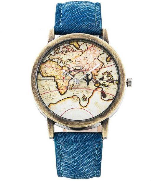Zillion watches buy zillion watches online at best prices in india zillion plane rotating world map dial blue denim strap watch for women gumiabroncs Images