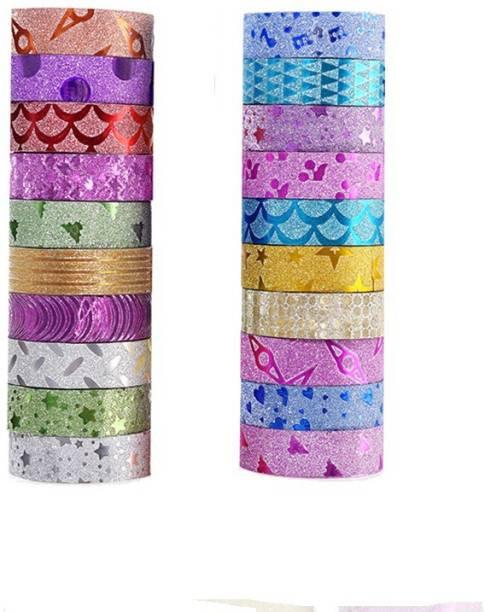 Aarav international Single side Manual Colourful Decorative Adhesive Glitter Tape Rolls, Length 3m Each, Set of 20 (Designs As Per Availability) (Manual)