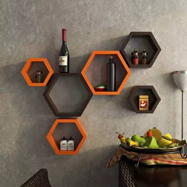 Onlineshoppee Hexagonal MDF (Medium Density Fiber) Wall Shelf