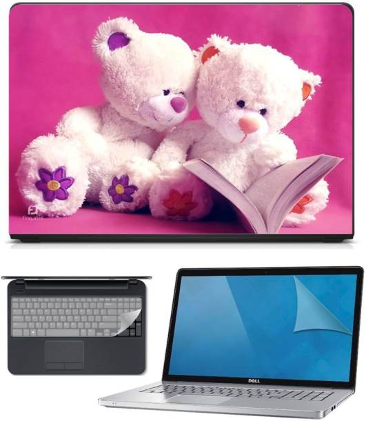 FineArts 3in1 Combo of Premium Quality, HD, UV Printed, Laminated, Protected, Bubble Free, Scratchproof, Washable, Easy to Install Laptop Skin/Sticker/Vinyl/Cover for 15.6 inches on 3M Vinyl with Screen Guard and Key Protector (Teddy Pink 3in1) Combo Set