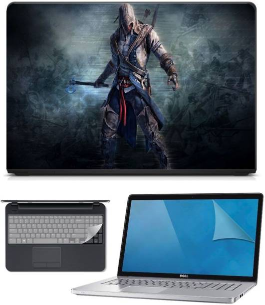 FineArts 3in1 Combo of Premium Quality, HD, UV Printed, Laminated, Protected, Bubble Free, Scratchproof, Washable, Easy to Install Laptop Skin/Sticker/Vinyl/Cover for 15.6 inches on 3M Vinyl with Screen Guard and Key Protector (Assassins) Combo Set