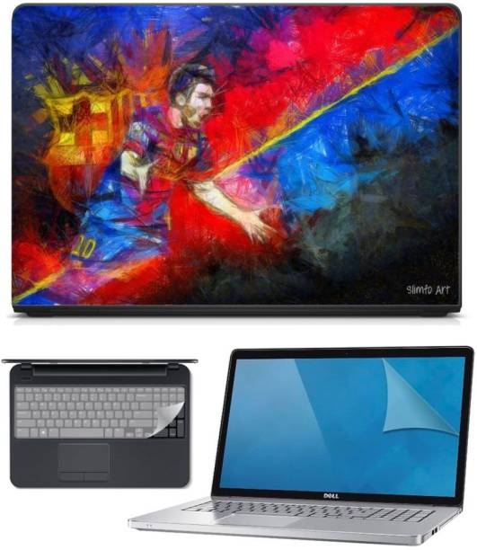 FineArts 3in1 Combo of Premium Quality, HD, UV Printed, Laminated, Protected, Bubble Free, Scratchproof, Washable, Easy to Install Laptop Skin/Sticker/Vinyl/Cover for 15.6 inches on 3M Vinyl with Screen Guard and Key Protector (Messie Art 3in1) Combo Set