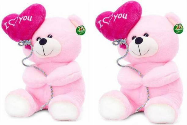 KIDZ Zone I Love You Balloon Heart Teddy Pink ( Set Of 2 )- 18 CM  - 18 cm